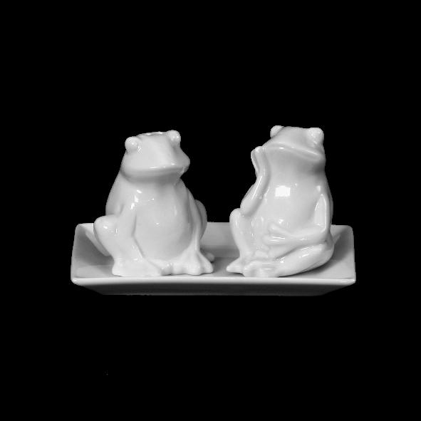 "Salz & Pfeffer Menage ""Frösche"" 3-tlg. 13 x 8 cm"