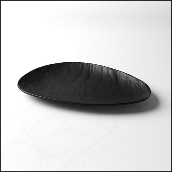 Porzellanplatte Schieferdesign matt schwarz 28 x 18 cm