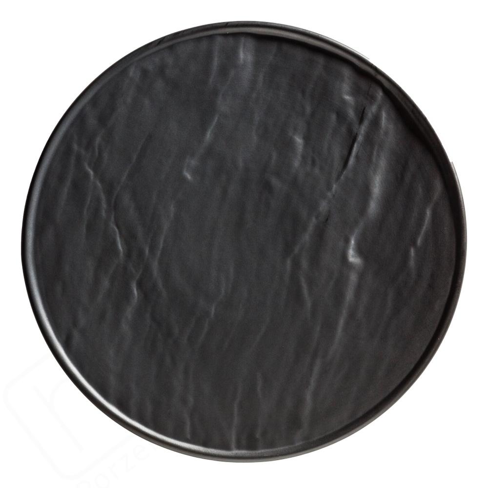 Porzellanplatte Schieferdesign schwarz 25 cm rund