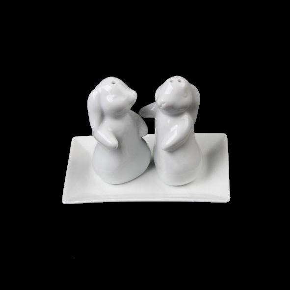 """Salz & Pfeffer Menage """"Liebeshäschen"""" 3-tlg. 13 x 9 cm (**)"""