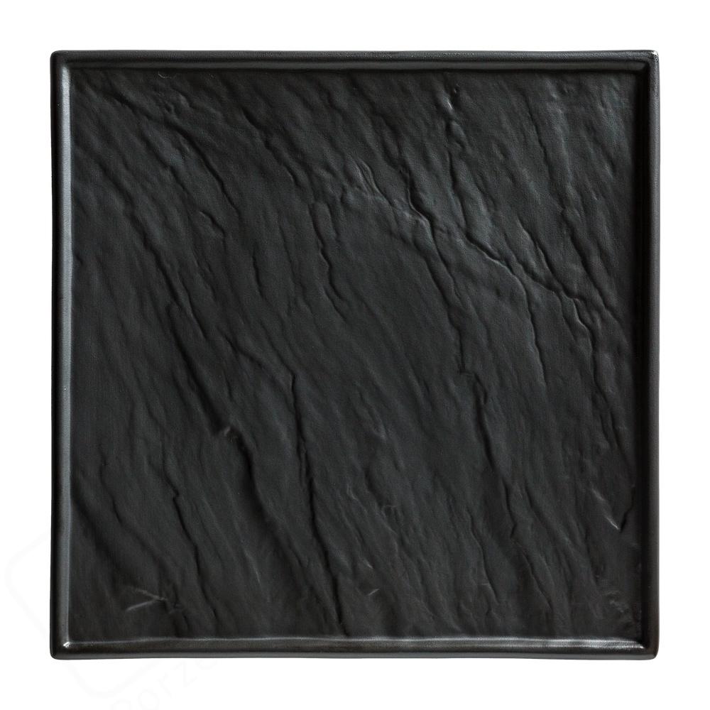 Porzellanplatte Schieferdesign schwarz 26 x 26 cm