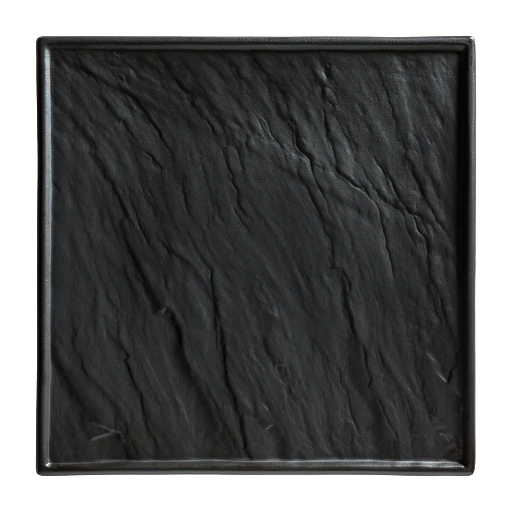 Porzellanplatte Schieferoptik schwarz 26 x 26 cm