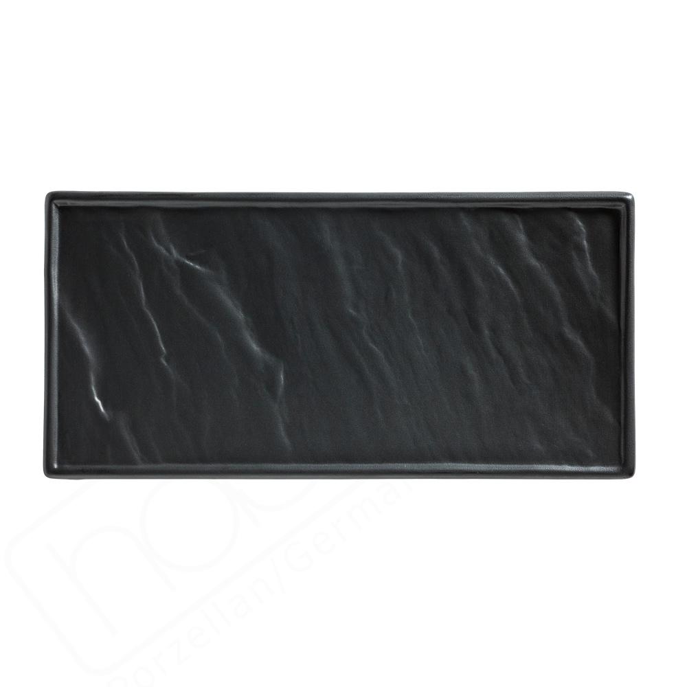Porzellanplatte Schieferdesign schwarz 26 x 12 cm