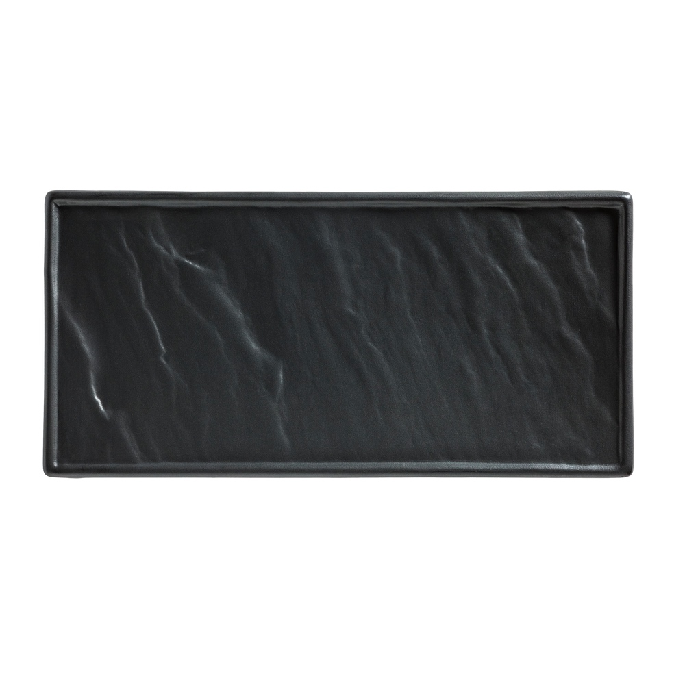 Porzellanplatte Schieferoptik schwarz 26 x 12 cm