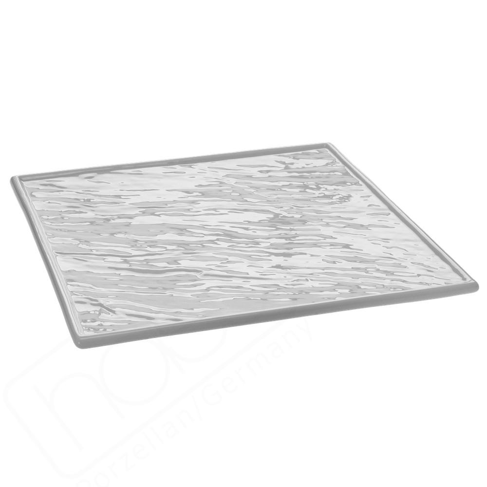 Porzellanplatte Schieferdesign weiß 26 x 26 cm (**)