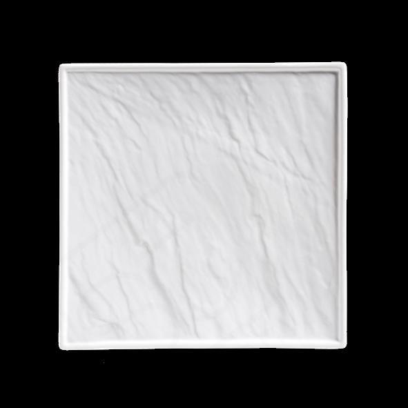 Porzellanplatte Schieferdesign weiß 26 x 26 cm