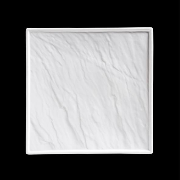 Porzellanplatte Schieferoptik weiß 26 x 26 cm