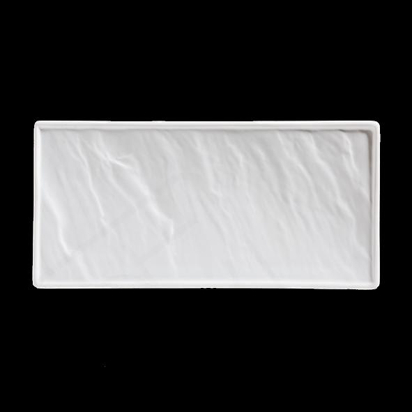 Porzellanplatte Schieferoptik weiß 26 x 12 cm