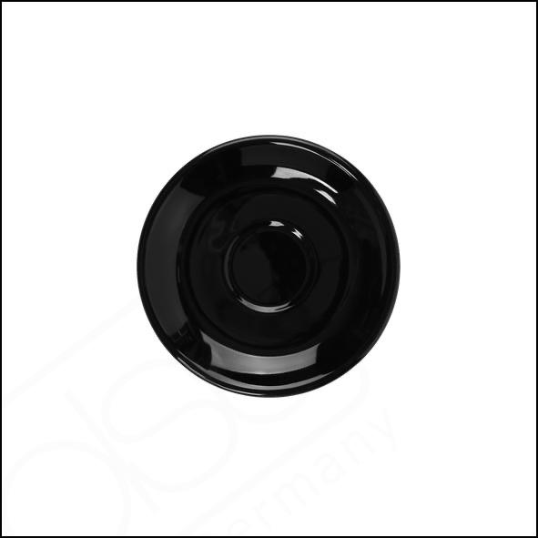 Untertasse 12 cm flache Form schwarz, Spiegel 4,2 cm