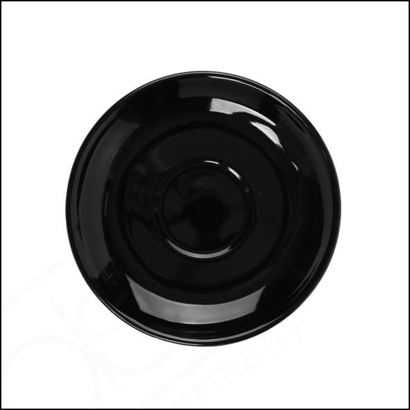 Untertasse 14 cm flache Form schwarz, Spiegel 4,8 cm