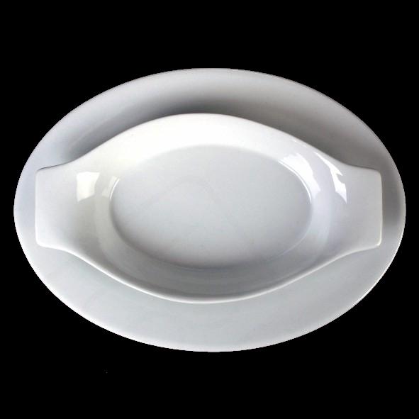 Gratinschale oval 35 x 18 cm auf Servierplatte VLP