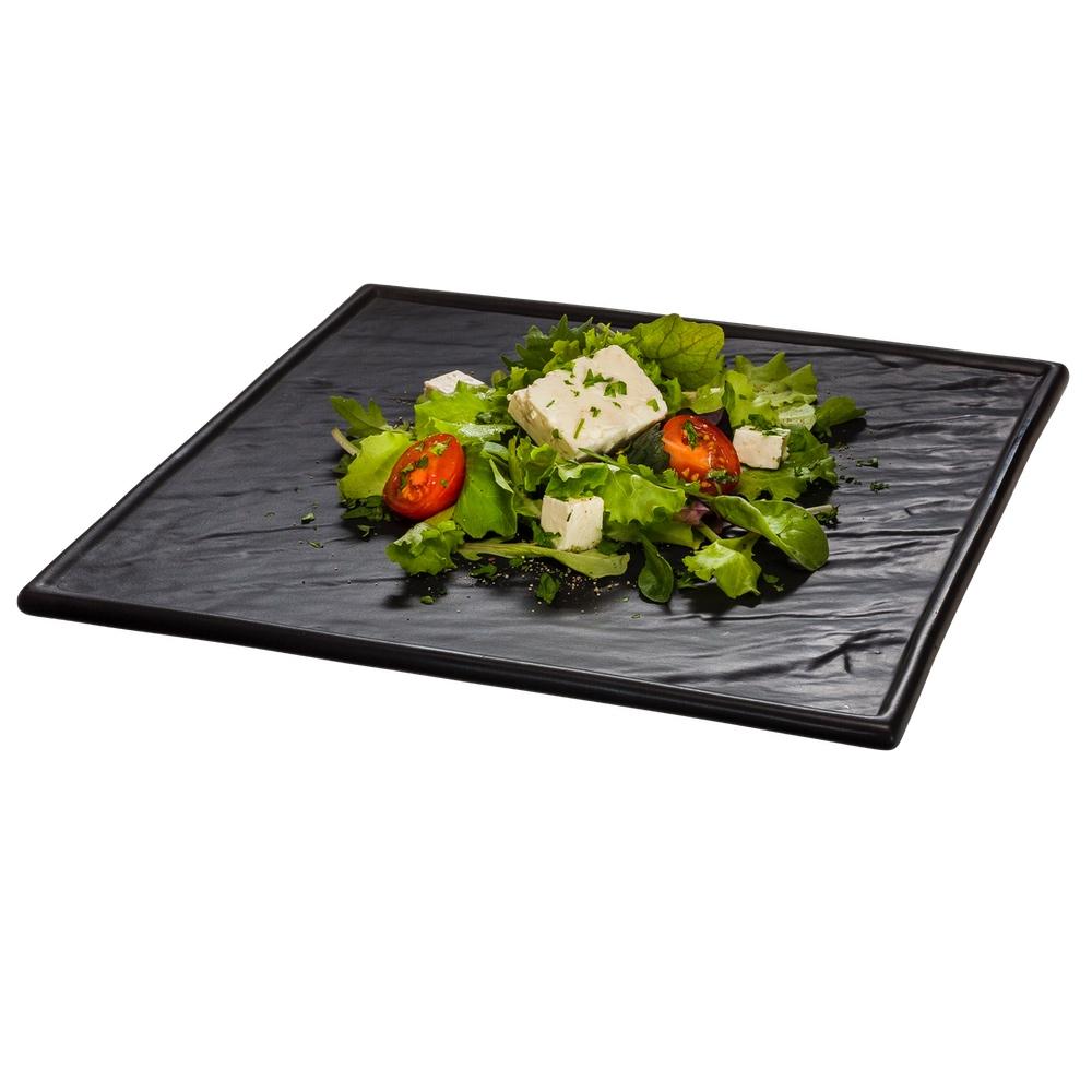 Porzellanplatte Schieferdesign matt schwarz 26 x 26 cm