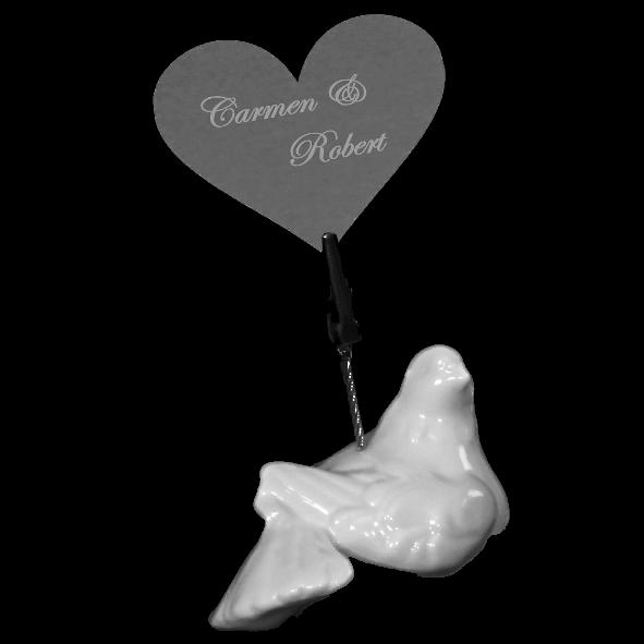 Card holder dove sitting