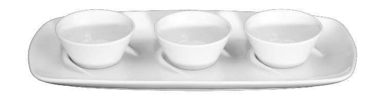 Dips & Saucen ansprechend in weißem Porzellan servieren!