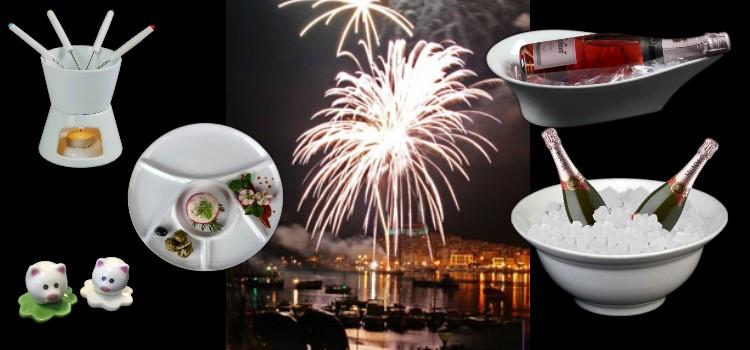 Weißes Porzellan zum Thema Silvester günstig online kaufen!