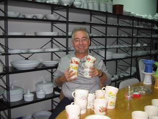 Porzellantassen mit Vignettendruck und Rosenberger