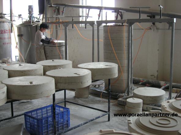 Gipsformen und der Plattenproduktion