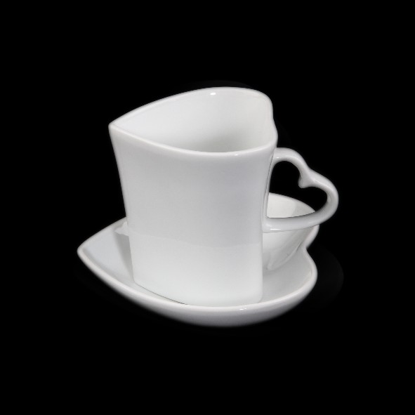 Heart shaped mug 0,35 l with small bowl HS