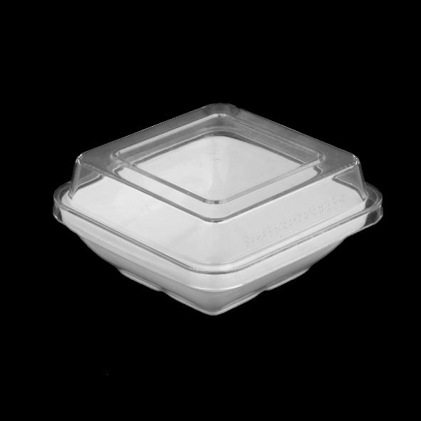 Schale quadratisch 14,5 cm m. Deckel glasklar hoch