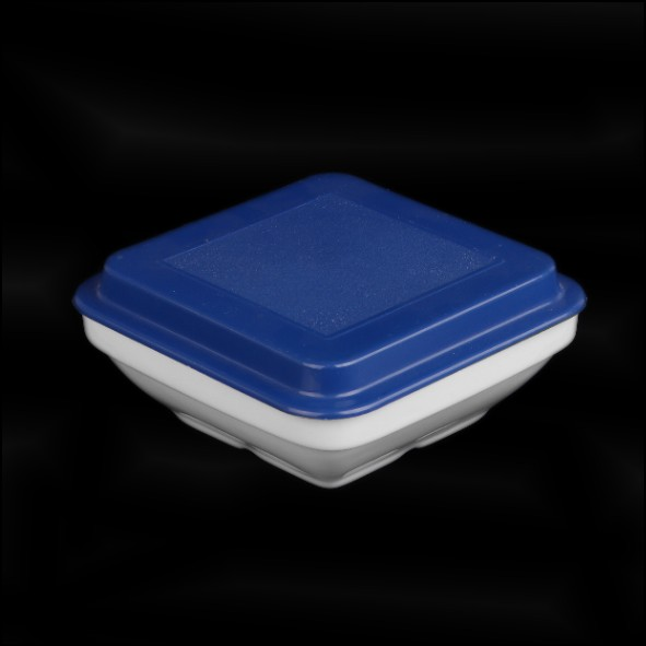 Square dish 14,5 cm with cover blue