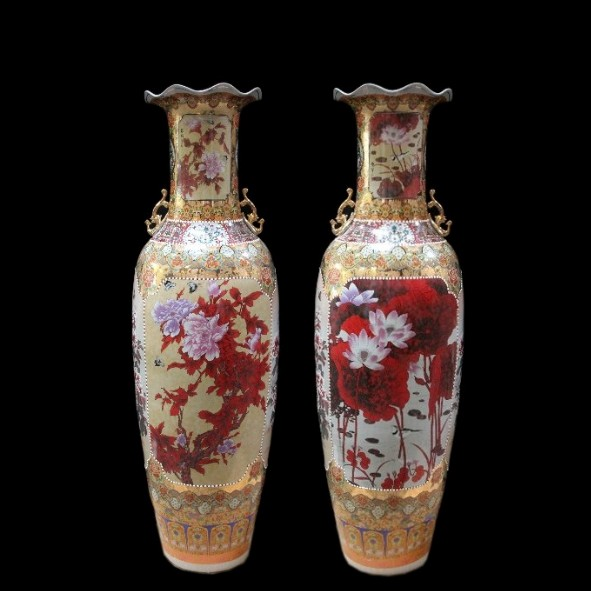 Chinese floor vase Lotus & Peach 160 cm