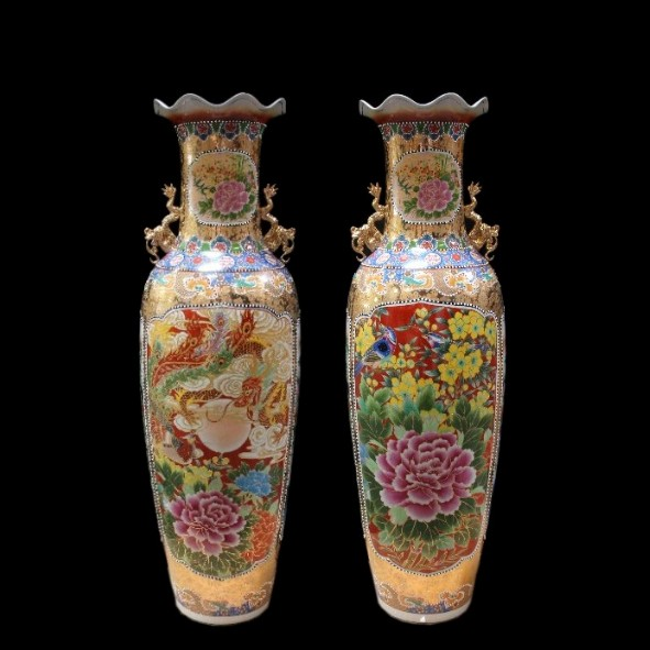 Chinese floor vase Dragon & Phönix 160 cm