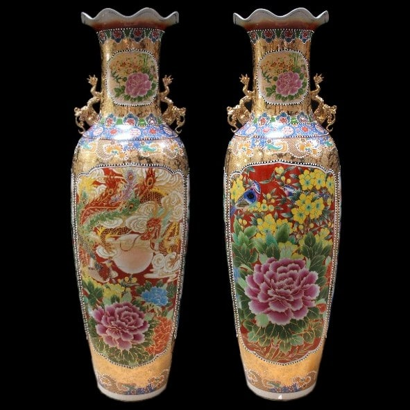 Chinese floor vase Dragon & Phönix 205 cm