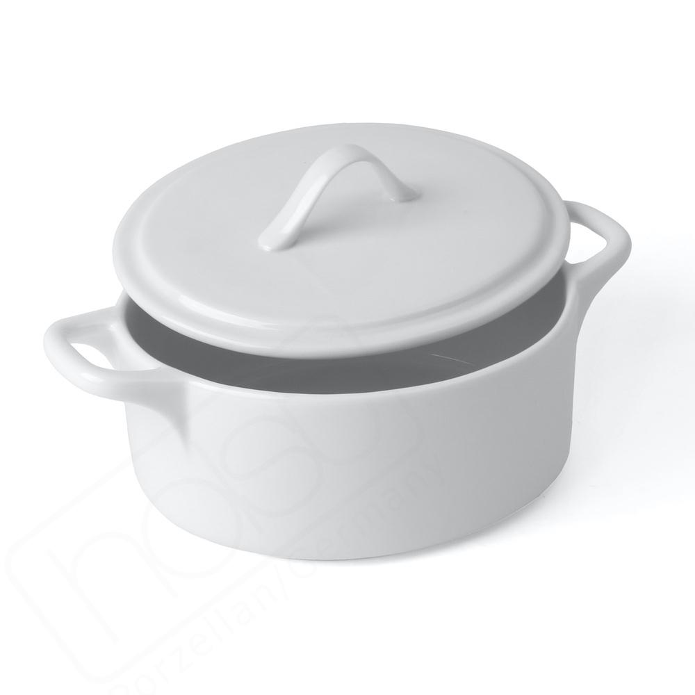 Porzellan Cocotte/Topf mit Deckel 1,1 l