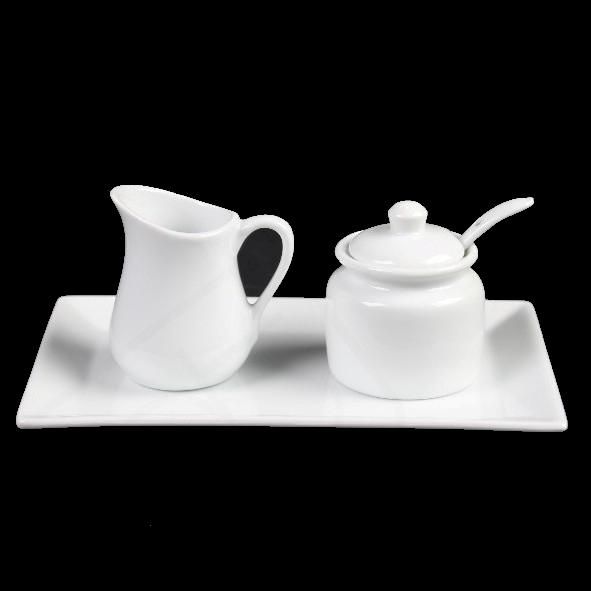 Milch- & Zucker-Set 3-tlg. eckig 20 x 13 cm (**)