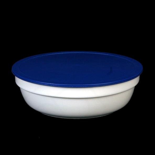 Schale rund 1,1 l stapelbar m. Deckel blau
