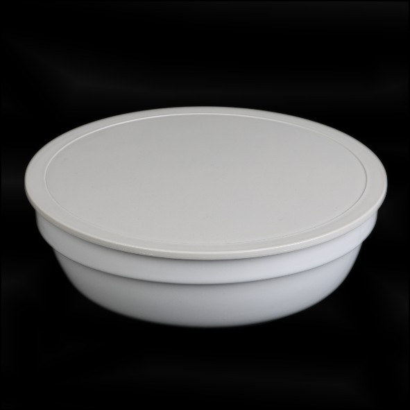 Round bowl with lid grey, stackable