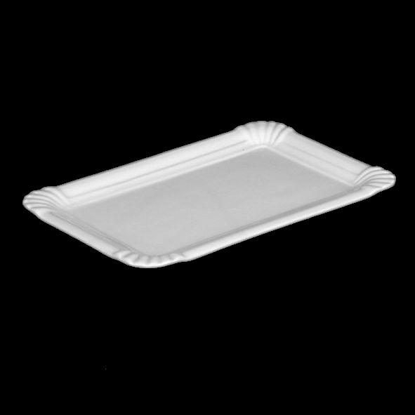 """Porzellan Servierplatte 21 cm """"Einweg-Design"""" - Zweite Wahl (*)"""