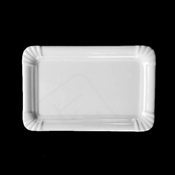 Porcelana plato plano 21 x 14 cm estilo de cartón