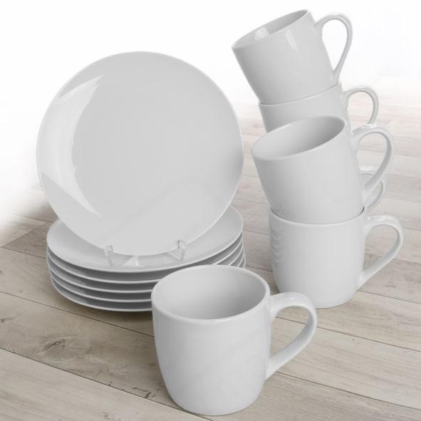 Frühstücksset 12-tlg. für 6 Personen mit 6 Tellern, 6 Bechern