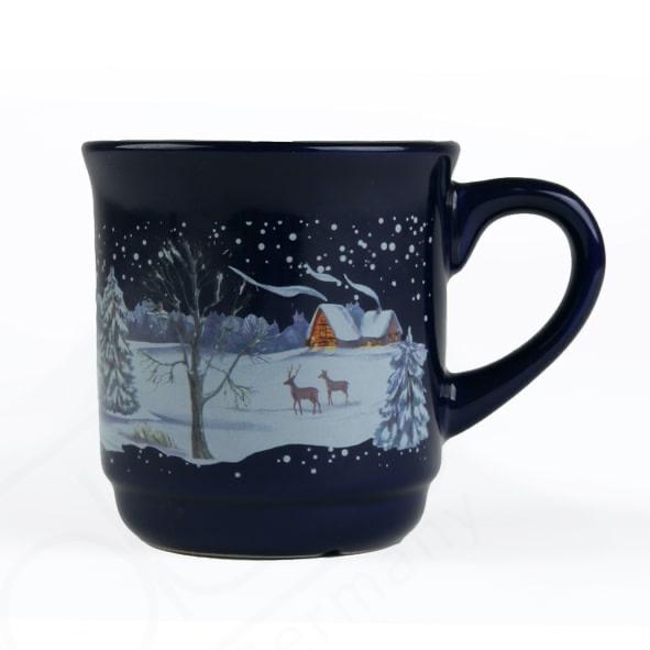 Glühweinbecher blau 0,20 l geeicht m. Weihnachtsmotiv (**)