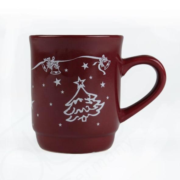 Glühweinbecher rot 0,25 l geeicht m . Weihnachtsmotiv (**)