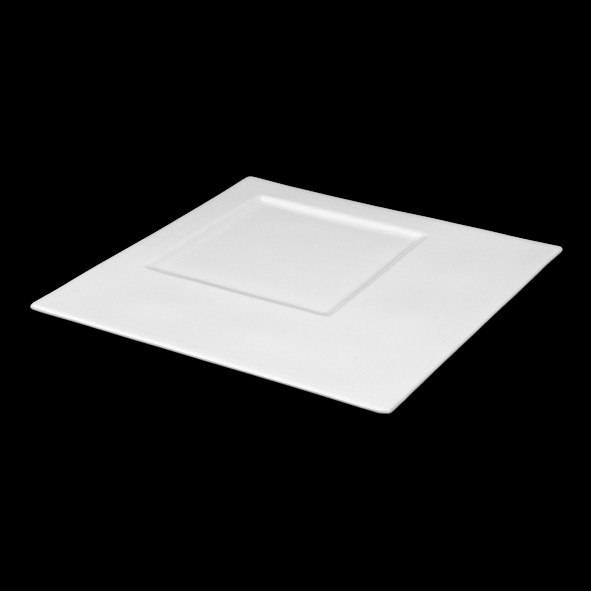 Square plate ''Rondo'' with large cuboid