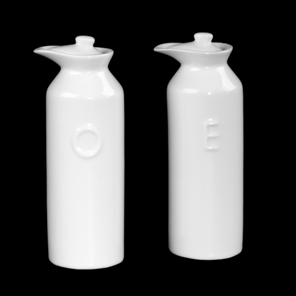 Oil & Vinegar Bottle Set with relief ''O'' and ''E''