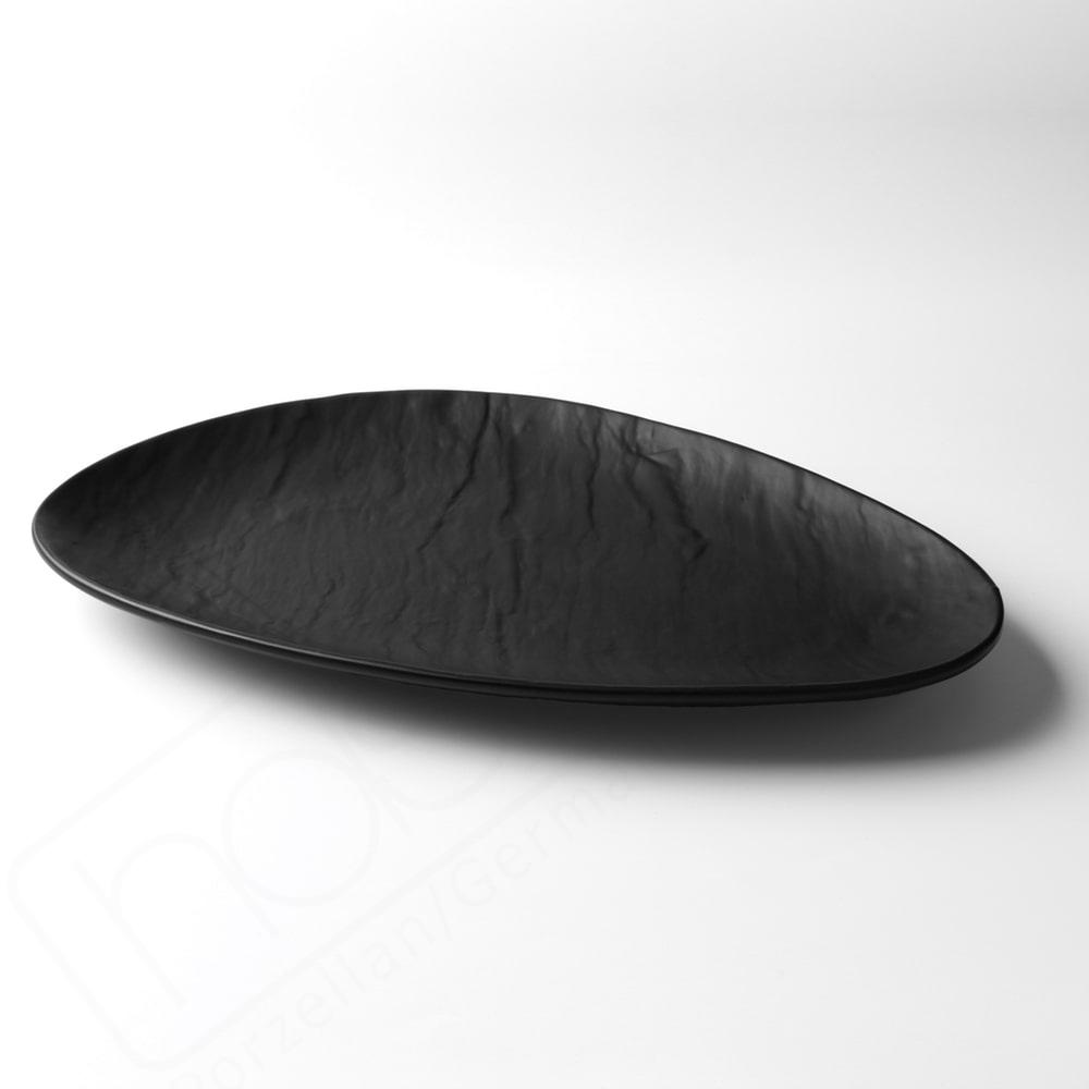 Porzellanplatte Schieferdesign matt schwarz 36 x 23 cm