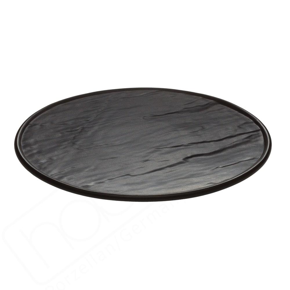"""Porzellanplatte 25 cm rund """"Schieferdesign"""" schwarz"""