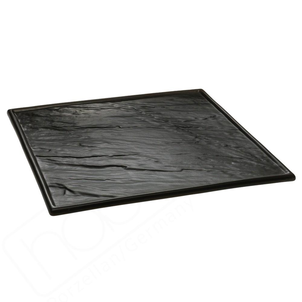 """Porzellanplatte 26 x 26 cm """"Schieferdesign"""" schwarz"""