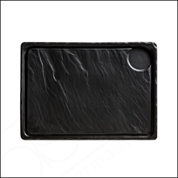Porzellanplatte Schieferdesign matt schwarz 33 x 24 cm