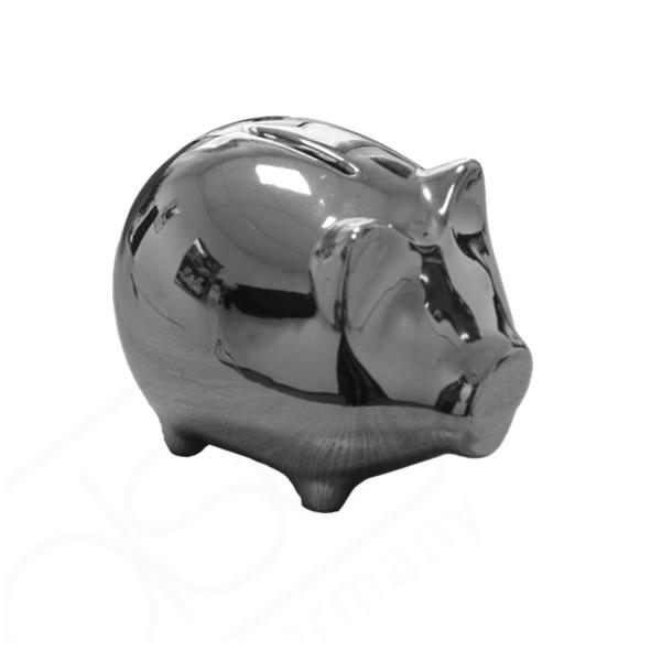 Geld- & Trinkgeld Sparschwein 13 x 9 cm silber