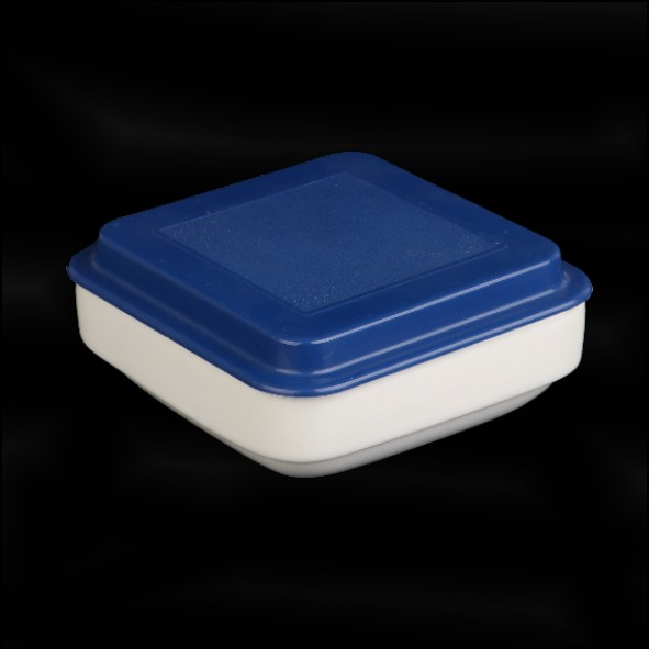 Square bowl 15 cm with cover blue