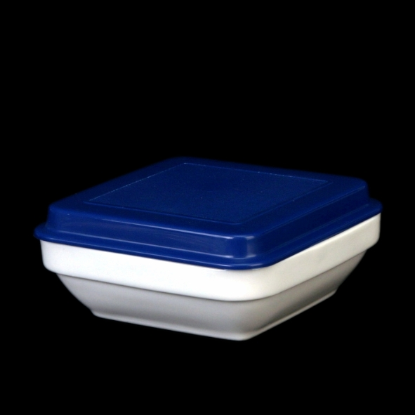 Square dish 11,2 cm x 11,2 cm with cover blue