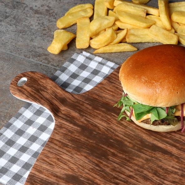 """Burgerplatte 38 x 31 cm Brettchen """"Holz Optik"""""""