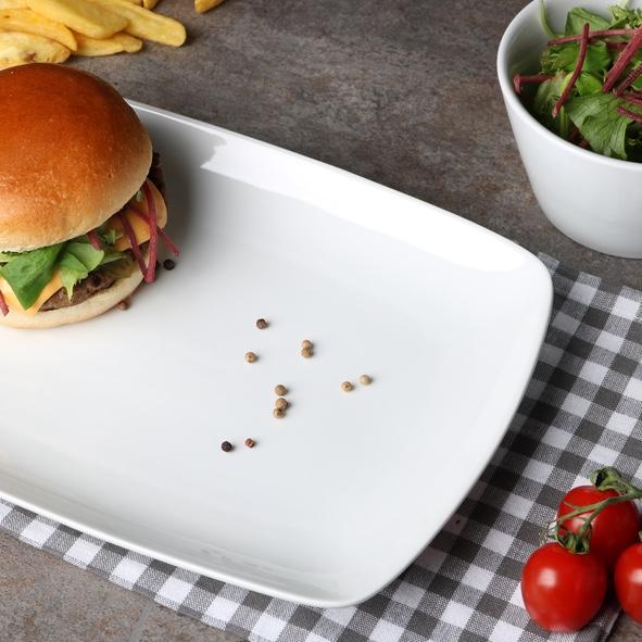 """Burgerplatte eckig 31 x 22 cm """"Fine Dining"""""""
