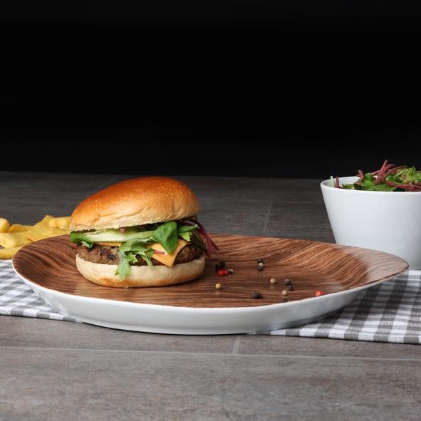 """Burgerplatte 31 x 27 cm """"Holz Optik"""""""