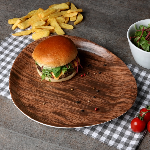 Burger plate 31 x 27 cm ''Wood Design''