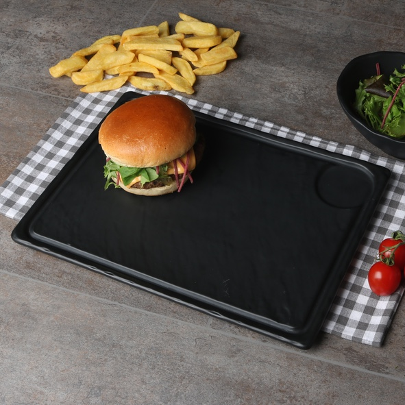 Burger plate black 33 x 24 cm ''Slate Design''